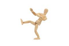 Dummy. Wooden dummy pretending push something isolated on white background stock images