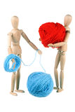Dummy and woolen balls Stock Images