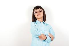 Dumna mała dziewczynka z szkłami Fotografia Stock