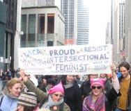 Dumni Feminists, Intersectional feminizm, kobiety ` s Marzec, środek miasta, Manhattan, NYC, NY, usa Zdjęcie Royalty Free