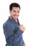 Dumny i pomyślny młody biznesowy mężczyzna robi pięść gesta isol Zdjęcie Royalty Free