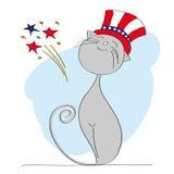 Dumny patriotyczny kot ubierał up dla dnia niepodległości świętowania Obraz Royalty Free
