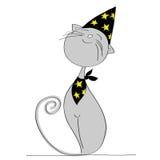 Dumny popielaty kot ubierał up dla Halloween przyjęcia Fotografia Royalty Free