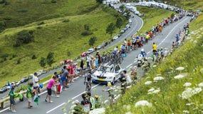 Велосипедист Том Dumoulin на Col de Peyresourde - Тур-де-Франс Стоковая Фотография RF