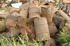 Dump. With a lot of barrels on the grass Royalty Free Stock Photos