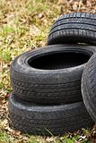 Dump of automobile tires. Environmental pollution. Stock Image