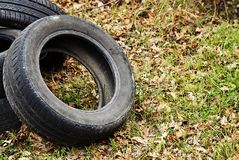 Dump of automobile tires. Environmental pollution. Stock Images
