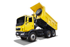 Dump-Body Truck. Yellow dump body truck isolated on white background Stock Photos