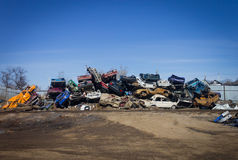 Dump of the broken cars. Lot of scrap metal. Stock Photo