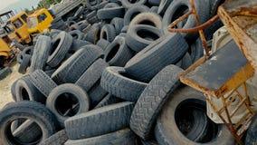 Dump car tires, old tires. Dump car tires, old tires stock video