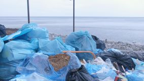 Dump garbage bags in nature on sea beach environmental pollution, closeup. Dump garbage bags in nature on sea ocean beach. Environmental pollution outdoors and stock video