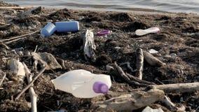 Dump Garbage On The Beach Near The Sea, Environmental Pollution stock footage