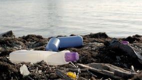 Dump Garbage On The Beach Near The Sea, Environmental Pollution stock video