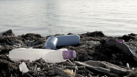 Dump Garbage On The Beach Near The Sea, Environmental Pollution stock video footage