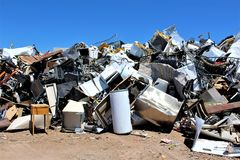 Dump. Landfill where disposed appliances that are unwanted Stock Image