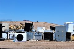 Dump. Landfill where disposed appliances that are unwanted Royalty Free Stock Photo