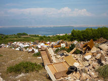 Dump near the sea. In the middle of island VIR, in croatia Royalty Free Stock Image