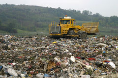 Dump new 3. Refuse collection overview and bulldozer Stock Images
