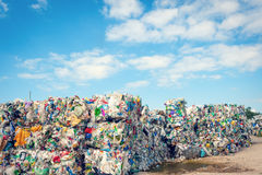 Dump with processed garbage. With blue sky as backgrond - ecology Royalty Free Stock Images