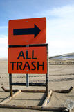 Dump Sign All Trash. This is an orange sign you might see at your local dump that reads All Trash this way. Could be used for environmental concerns, business Stock Photography