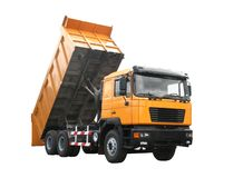 Dump truck. Yellow dump truck isolated over white Stock Photography