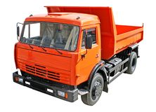Dump truck. Small red dump truck isolated on white Stock Image