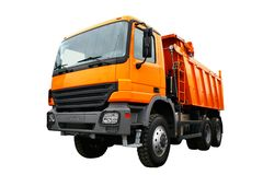 Dump truck. Red dump truck isolated over white Stock Images
