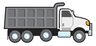 Dump Truck. A typical plain white blank American dump truck Royalty Free Stock Photo