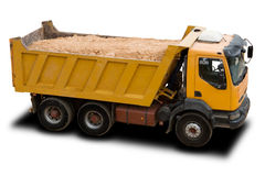 Dump Truck. A Big Yellow Dump Truck Isolated on White Stock Photos