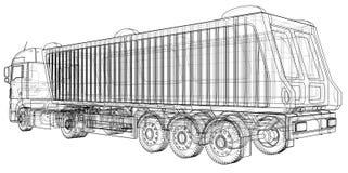 dump truck Aislado Ejemplo creado de 3d Alambre-marco Imagenes de archivo