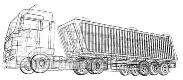 dump truck Aislado Ejemplo creado de 3d Alambre-marco Imagen de archivo