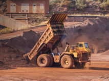 Dump truck. On bauxite quarry site Royalty Free Stock Photo
