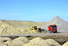 Dump truck and bulldozer Royalty Free Stock Images