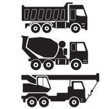 dump truck Camion de mélangeur concret Grue de camion Silhouette noire sur le fond blanc Icône de construction ou ensemble de sig illustration libre de droits