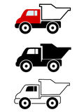 Dump truck. Cartoon dump trucks in black outline, silhouette and color on isolated white background Vector Illustration