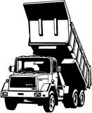 Dump truck cartoon Vector Clipart Royalty Free Stock Photo