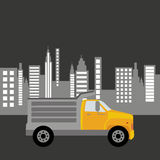 Dump truck city background graphic. Vector illustration eps 10 Stock Photography