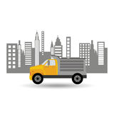 Dump truck city background graphic. Vector illustration eps 10 Stock Photos