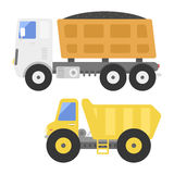 Dump truck construction delivery truck transportation vehicle mover road machine equipment vector. Dump truck transportation construction vehicle and road Stock Photos