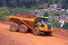 Dump Truck. On a construction site stock images