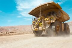 Dump truck at a copper mine. In Latin America Stock Photos
