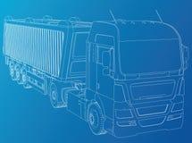 dump truck D'isolement Illustration créée de 3d Fil-cadre illustration libre de droits