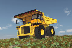 Dump truck on a dirt road. Computer generated 3D illustration with a dump truck on a dirt road Royalty Free Stock Image