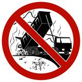 The dump truck discharging waste to the landfill. Say no to landfill. Prohibition sign Stock Images