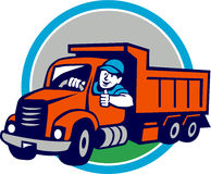 Dump Truck Driver Thumbs Up Circle Cartoon Royalty Free Stock Images
