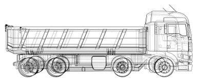 dump truck Ejemplo de trazado de 3d Formato del vector del EPS 10 aislado en blanco libre illustration