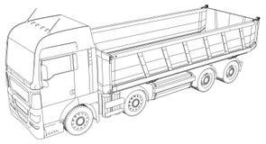 dump truck Ejemplo de trazado de 3d Formato del vector del EPS 10 aislado en blanco ilustración del vector