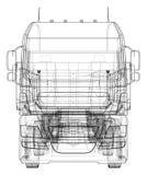 dump truck El vector creó el ejemplo de 3d estilo del Alambre-marco Las capas de líneas visibles e invisibles se separan ilustración del vector