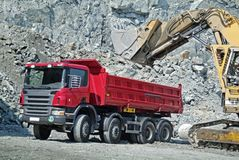 Dump Truck and Excavator Royalty Free Stock Photography