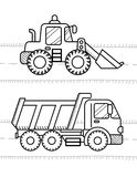 Dump Truck, Excavator. Cars and vehicles coloring book for kids. Dump Truck, Excavator Dozer Digger Tractor Royalty Free Stock Photo
